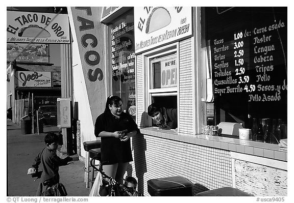 Hispanic women at a taco shop. Redwood City,  California, USA