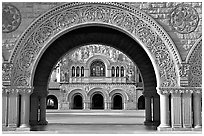 Memorial Church through the Quad's arch, early morning. Stanford University, California, USA (black and white)