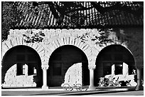 Arches of the Quad in mauresque style. Stanford University, California, USA (black and white)