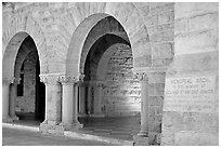 Arches of Main Quad. Stanford University, California, USA (black and white)