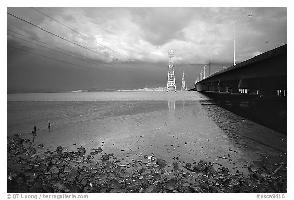 Dumbarton Bridge with storm clouds. Menlo Park,  California, USA (black and white)