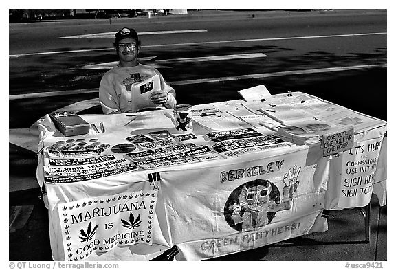 Street Booth advocating Drug legalization. Berkeley, California, USA (black and white)