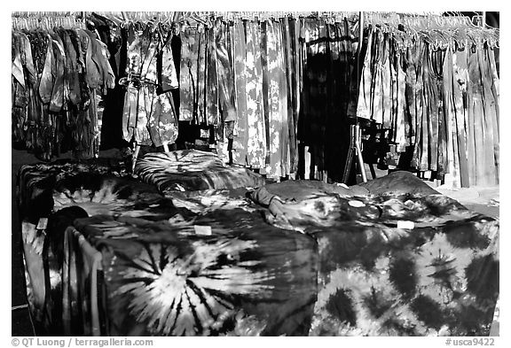 Colorful Tye die T-shirts for sale. Berkeley, California, USA (black and white)