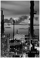 Oil Refinery near Rodeo at sunset. SF Bay area, California, USA ( black and white)