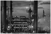San Francisco Refinery, sunset, Rodeo. San Pablo Bay, California, USA ( black and white)