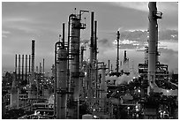 Chimneys of industrial Oil Refinery, Rodeo. San Pablo Bay, California, USA ( black and white)