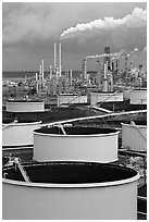 Storage citerns and piples, ConocoPhillips  Refinery,  Rodeo. San Pablo Bay, California, USA ( black and white)