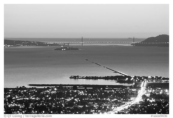 Bay and Golden Gate at sunset from the Berkeley Hills. Berkeley, California, USA (black and white)