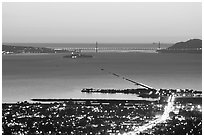Bay and Golden Gate at sunset from the Berkeley Hills. Berkeley, California, USA ( black and white)