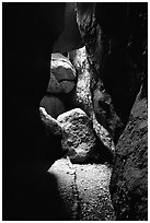 Rocks and trail in Bear Gulch Caves. Pinnacles National Park, California, USA. (black and white)
