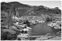 Bear Gulch Dam and reservoir. Pinnacles National Park, California, USA. (black and white)