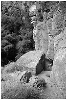 Volcanic rock cliffs. Pinnacles National Park, California, USA. (black and white)