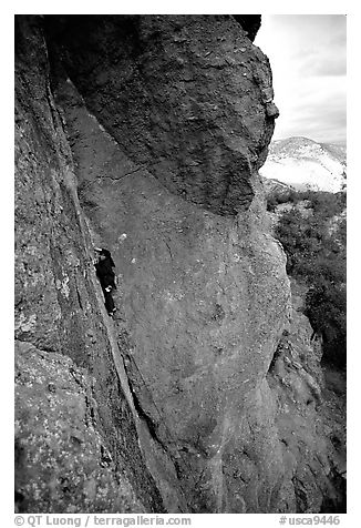 Rock climber. Pinnacles National Park (black and white)