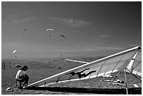 Hand-glider,  Mission Peak Regional Park. California, USA ( black and white)