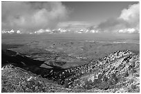 Looking towards the delta from the summit after a snow storm, Mt Diablo State Park. California, USA (black and white)