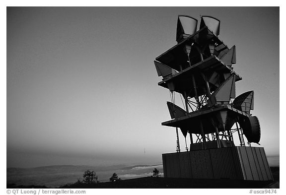 Microwave communication relay at dusk,  Mt Diablo State Park. California, USA