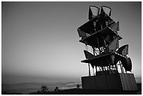 Microwave communication relay at dusk,  Mt Diablo State Park. California, USA (black and white)