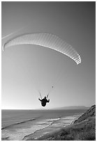 Paragliding above the ocean, the Dumps, Pacifica. San Mateo County, California, USA (black and white)