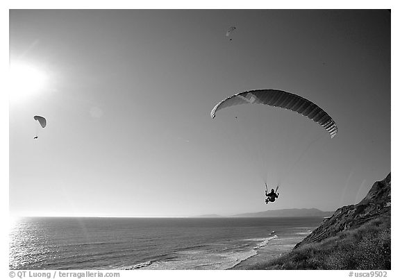 Paragliders soaring above the Ocean, the Dumps, Pacifica. San Mateo County, California, USA (black and white)