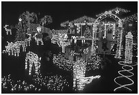 House Christmas Lights. San Jose, California, USA (black and white)