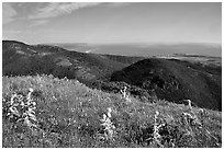 Montara Mountain and Pacific coast. San Mateo County, California, USA ( black and white)