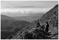 Hiker on Montara Mountain. San Mateo County, California, USA ( black and white)