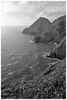 Coastline near Devil's slide, sunset. San Mateo County, California, USA (black and white)