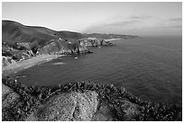 Coastline near Devil's slide, sunset. San Mateo County, California, USA ( black and white)