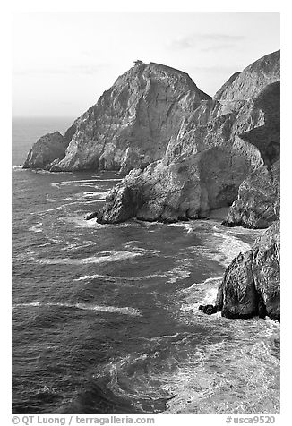 Cliffs and surf near Devil's slide, sunset. San Mateo County, California, USA (black and white)