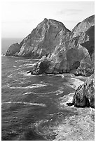 Cliffs and surf near Devil's slide, sunset. San Mateo County, California, USA ( black and white)