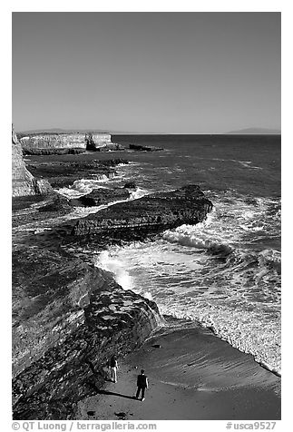 Surf, slabs, and cliffs, Wilder Ranch State Park. California, USA (black and white)
