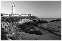 Pigeon Point Lighthouse, sunset. San Mateo County, California, USA (black and white)