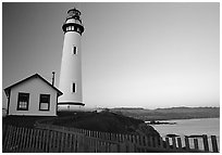 Pigeon Point Lighthouse, dusk. San Mateo County, California, USA (black and white)