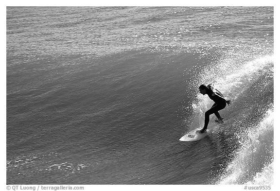 Black and white picture photo surfer morning santa cruz california usa