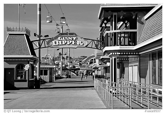 Boardwalk amusement park, morning. Santa Cruz, California, USA