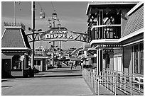 Boardwalk amusement park, morning. Santa Cruz, California, USA (black and white)