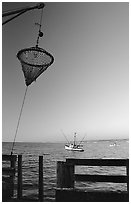 Fishing basket, Fisherman's wharf. Monterey, California, USA (black and white)