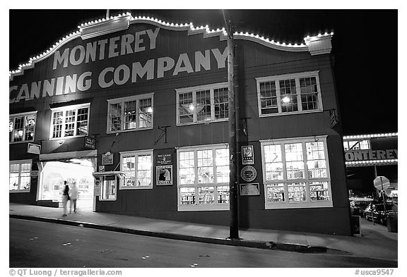 Cannery Row building at night, Monterey. Monterey, California, USA (black and white)
