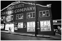 Cannery Row building at night, Monterey. Monterey, California, USA ( black and white)