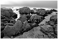 Pool, rocks, foggy sunset, seventeen-mile drive. Pebble Beach, California, USA ( black and white)