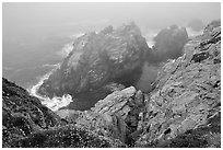 Pinnacle Cove with fog. Point Lobos State Preserve, California, USA ( black and white)