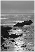 Rocks and sun reflections. Big Sur, California, USA (black and white)
