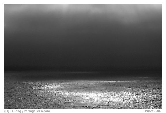Light and fog over the Ocean. Big Sur, California, USA (black and white)