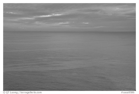 Pastel sunset  over the Ocean. Big Sur, California, USA (black and white)