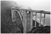 Bixby Creek Bridge in fog. Big Sur, California, USA ( black and white)
