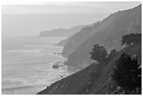Coastline at sunset. Big Sur, California, USA (black and white)