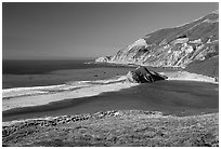 Lagoon and beach. Big Sur, California, USA ( black and white)