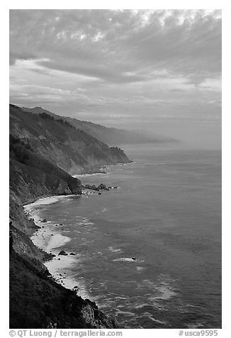 Coast at sunset. Big Sur, California, USA (black and white)