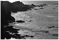 Rocks and surf, Garapata State Park, afternoon. Big Sur, California, USA (black and white)