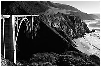 Bixby Creek Bridge. Big Sur, California, USA (black and white)